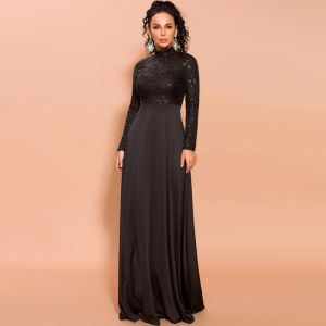 Modest  Black Sequins Evening Dresses  2020 Empire High Neck Long Sleeve Floor-Length / Long Formal Dresses
