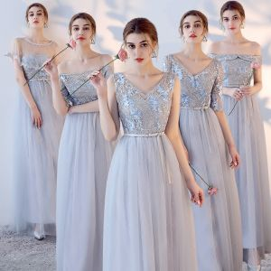 Chic / Beautiful Sky Blue Bridesmaid Dresses 2017 A-Line / Princess Crossed Straps Lace Flower Bow Backless Ankle Length Bridesmaid Wedding Party Dresses