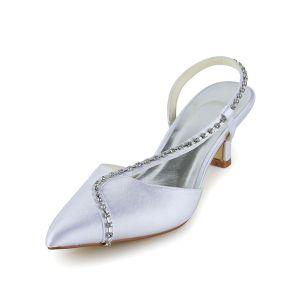 Sparkly Puntige Teen Steentjes Wit Satijn Lage Hakken Bruidsschoenen Trouwsschoenen