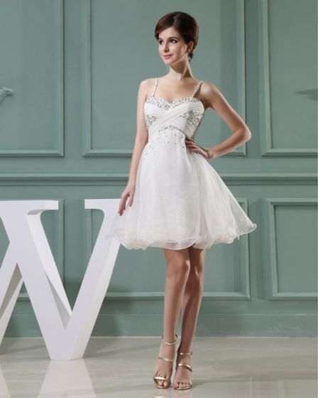 Lace Beading Spaghetti Straps Sleeveless Zipper Pleated Mini Wedding Dress