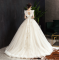 Audrey Hepburn Style Champagne Wedding Dresses 2019 A-Line / Princess Ruffle Scoop Neck Beading Lace Flower Sleeveless Backless Floor-Length / Long