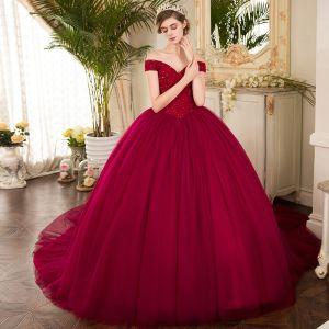Vintage Burgund Sukienki Na Bal 2019 Suknia Balowa Przy Ramieniu Kótkie Rękawy Frezowanie Trenem Kaplica Wzburzyć Bez Pleców Sukienki Wizytowe