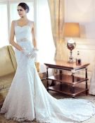 2015 Trumpet/Mermaid Tulle Shoulders Floor-length Lace Chapel Train Wedding Dresses