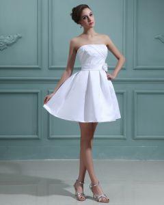 Organza Satin Ruffle Strapless Sweep Bridal Ball Gown Wedding Dress