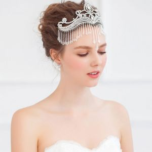 Exquisite Kristall-perlen Quaste Stirnband / Kopfschmuck Braut / Hochzeit Haarschmuck