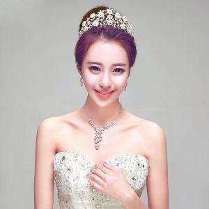 Luxury Pearl Rhinestone Bridal Jewellery Tiara / Earrings / Necklace Three-piece