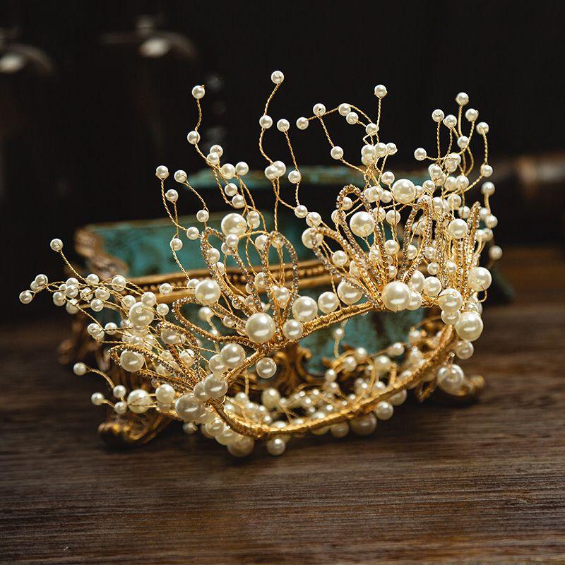 Charming Gold Bridal Jewelry 2020 Alloy Metal Rhinestone Pearl Tiara Tassel Earrings Wedding Accessories