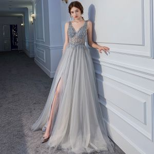 Illusion Sexy Grey See-through Evening Dresses  2020 A-Line / Princess Deep V-Neck Sleeveless Beading Split Front Sweep Train Ruffle Backless Formal Dresses