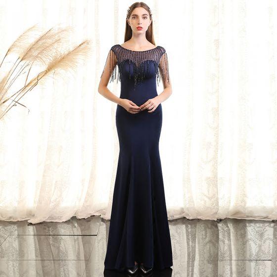 3d2d5698 Piękne Granatowe Sukienki Wieczorowe 2017 Syrena / Rozkloszowane Kryształ  Wycięciem Bez Rękawów Długość Kostki Sukienki Wizytowe