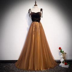 Chic / Beautiful Brown Suede Evening Dresses  2020 A-Line / Princess Spaghetti Straps Sleeveless Beading Sweep Train Backless Formal Dresses