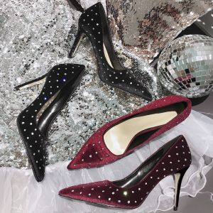 Modern / Fashion Black Suede Evening Party Pumps 2019 Rhinestone 9 cm Stiletto Heels Pointed Toe Pumps