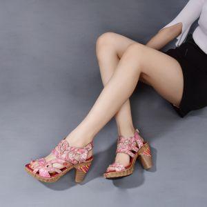 Hermoso Rosa Ropa de calle Cuero Sandalias De Mujer 2020 8 cm Talones Gruesos Plataforma Peep Toe Sandalias