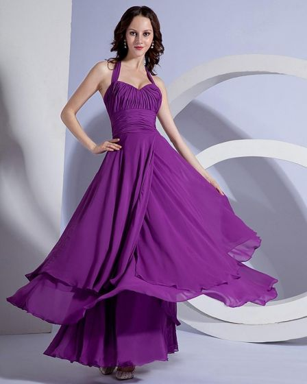 A-line Halter Floor-length Chiffon Celebrity Party Dresses