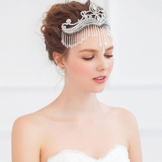 Exquisite Crystal Beaded Tassel Frontlet /Bridal's Headdress / Wedding Hair Accessories