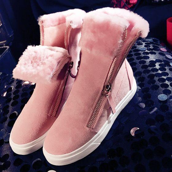 7307cf04a7be Mode Vinterstøvler 2017 Perle Pink Læder Støvletter   Ankelstøvler Suede  Lynlås Casual Vinter Flade Støvler Dame