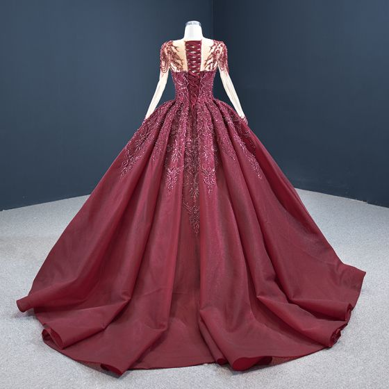 Vintage / Retro Burgundy Prom Dresses 2020 Ball Gown See-through Scoop Neck Long Sleeve Sequins Handmade  Beading Court Train Ruffle Backless Formal Dresses