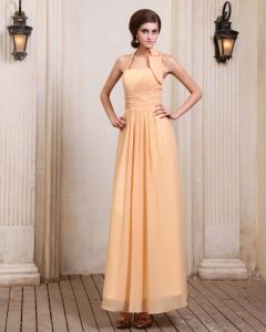 New Designer Sleeveless Chiffon Ruffles Halter Floor Length Evening Dresses