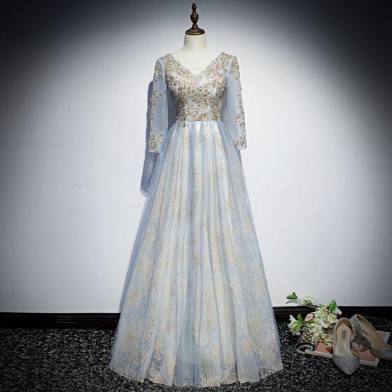 Schöne Himmelblau Abendkleider 2019 A Linie V-Ausschnitt 3/4 Ärmel Applikationen Pailletten Glanz Tülle Lange Rüschen Rückenfreies Festliche Kleider