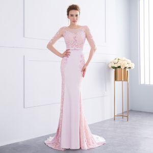 Schöne Pink Abendkleider 2018 Mermaid Spitze Blumen Perlenstickerei Schleife Rundhalsausschnitt 1/2 Ärmel Rückenfreies Sweep / Pinsel Zug Festliche Kleider