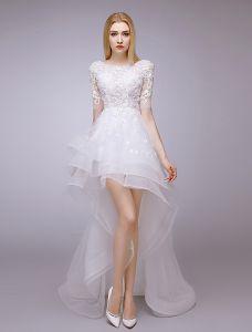 2015 A-line Fyrkantig Ringning Profilering & Spets Sommaren Kort Asymmetrisk Bröllopsklänningar