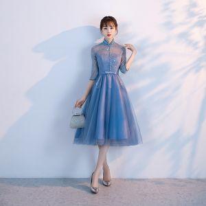 Piękne Ciemnoniebieski Sukienki Na Bal 2017 Princessa Frezowanie Z Koronki Cekiny Kokarda Wysokiej Szyi 1/2 Rękawy Krótkie Sukienki Wizytowe