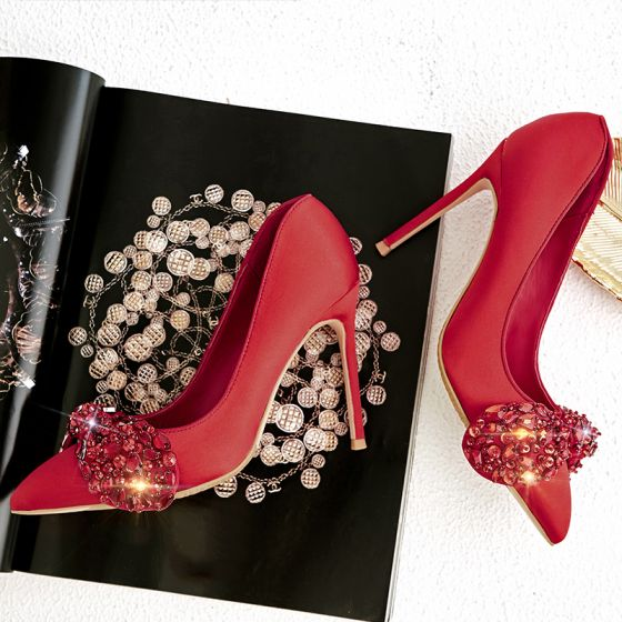 Charming Red Evening Party Satin Pumps 2020 Leather Rhinestone Bow 10 cm Stiletto Heels Pointed Toe Pumps