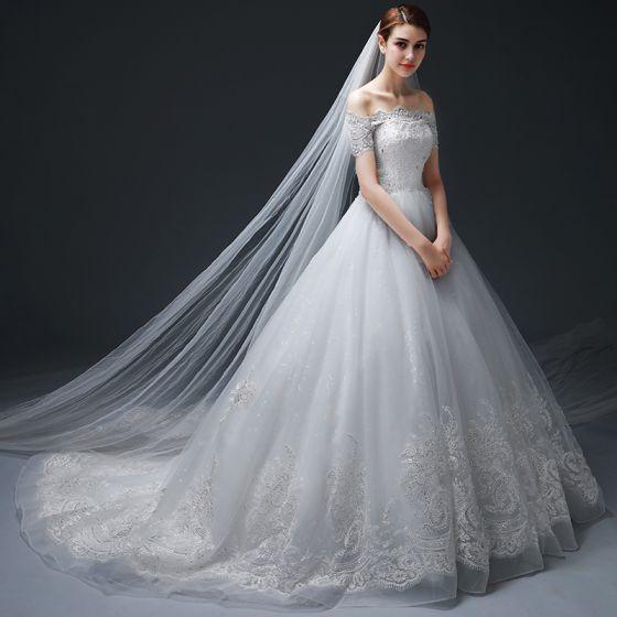 Chic Beautiful White Wedding Dresses 2017 A Line Princess
