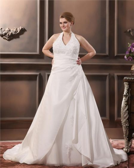 Satin Applique Halter Court Plus Size Bridal Gown Wedding Dresses