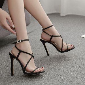 Sexy Svart Gateklær Sandaler Dame 2020 Ankelstropp X-Stropp 11 cm Stiletthæler Peep Toe Sandaler