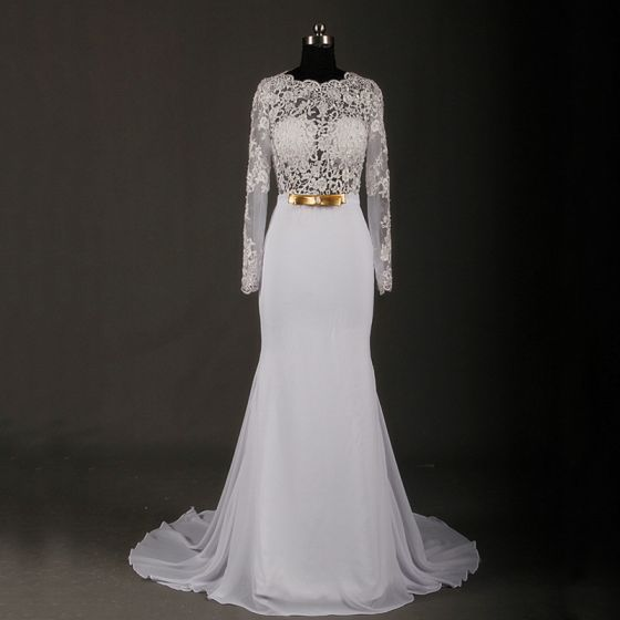 Amazing / Unique Ivory Court Train Wedding 2018 Trumpet / Mermaid Charmeuse Lace-up Appliques Backless Beading Pierced Sequins Wedding Dresses