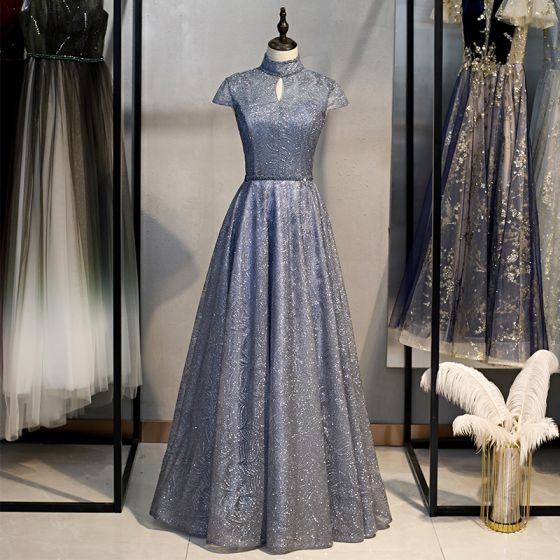 Vintage / Originale Bleu Marine Dansant Robe De Bal 2021 Princesse Transparentes Col Haut Manches Courtes Perlage Glitter Tulle Longue Volants Dos Nu Robe De Ceremonie