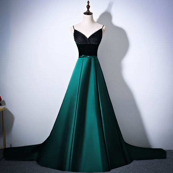 Sexy Dark Green Evening Dresses  2017 A-Line / Princess Spaghetti Straps Sleeveless Bow Sash Cathedral Train Ruffle Backless Formal Dresses
