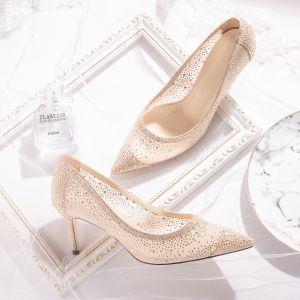 Sjarmerende Champagne Blonder Brudesko 2020 Lær Rhinestone 7 cm Stiletthæler Spisse Bryllup Pumps