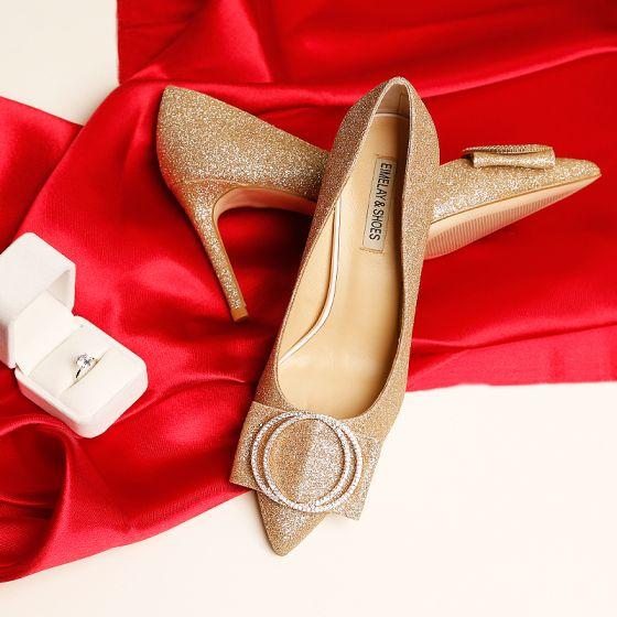Scintillantes Bling Bling Doré Talons Hauts 2019 Perlage Cuir Cocktail Soirée 9 cm À Bout Pointu Chaussures Femmes