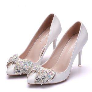 Lovely Dating Pumps 2018 Rhinestone Bow 9 cm Stiletto Heels Pointed Toe Pumps