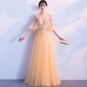 Chic / Beautiful Gold Evening Dresses  2018 A-Line / Princess Lace Appliques Pearl Scoop Neck Backless 1/2 Sleeves Floor-Length / Long Formal Dresses