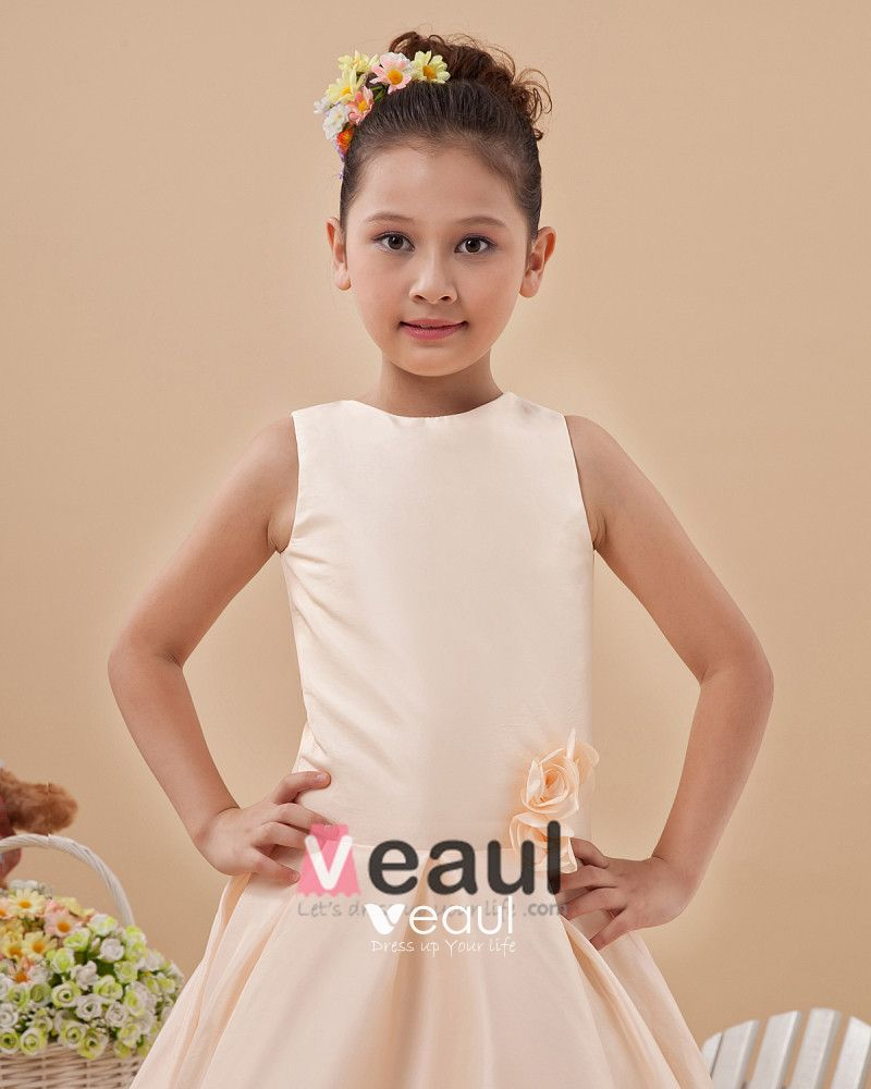 Cute Jewel Sleeveless Floor-Length Satin Flower Girls Dress