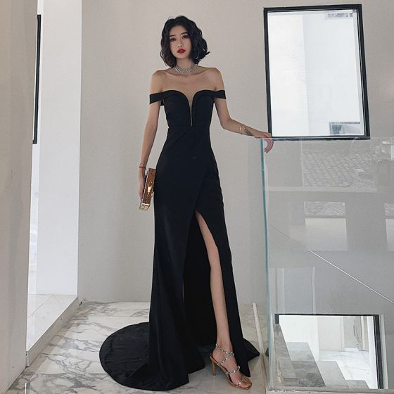 Classic Solid Color Black Evening Dresses  2020 Trumpet / Mermaid Off-The-Shoulder Sleeveless Backless Split Front Sweep Train Formal Dresses