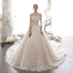 Vintage / Retro Champagne See-through Wedding Dresses 2019 A-Line / Princess High Neck Puffy 3/4 Sleeve Backless Appliques Lace Beading Cathedral Train Ruffle
