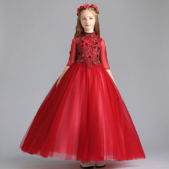 Chic / Beautiful Red Flower Girl Dresses 2019 A-Line / Princess High Neck 1/2 Sleeves Appliques Lace Pearl Rhinestone Floor-Length / Long Ruffle Wedding Party Dresses