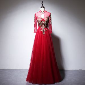 Chinese style Red Evening Dresses  2020 A-Line / Princess High Neck Beading Rhinestone Sequins Long Sleeve Floor-Length / Long Formal Dresses