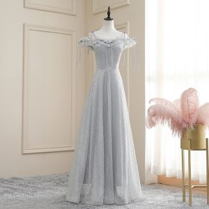 Affordable Grey Evening Dresses  2020 A-Line / Princess Off-The-Shoulder Spaghetti Straps Short Sleeve Glitter Tulle Floor-Length / Long Ruffle Backless Formal Dresses