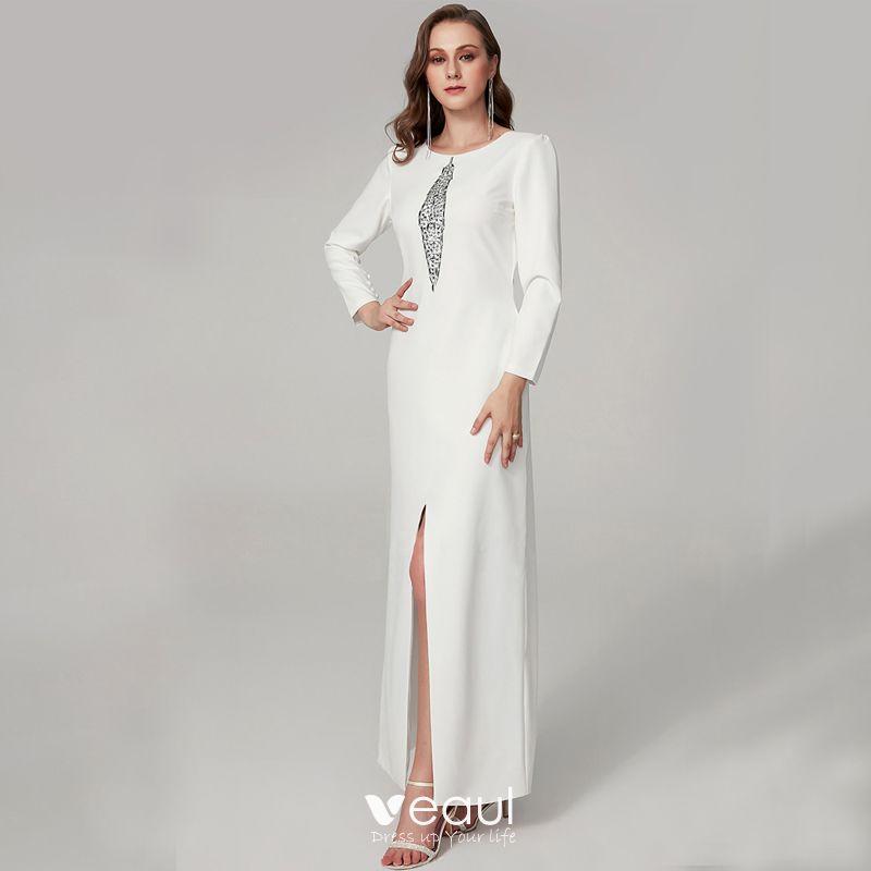 Moda Blanco Vestidos De Noche 2020 Trumpet Mermaid Largos U Escote Rebordear Rhinestone Lentejuelas Cita Trabajo Fiesta Noche Vestidos Formales