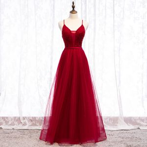 Chic / Beautiful Burgundy Evening Dresses  Crossed Straps 2019 A-Line / Princess Spaghetti Straps Beading Crystal Sequins Sash Sleeveless Backless Floor-Length / Long Formal Dresses
