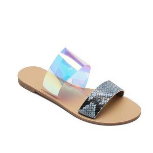 Fashion Multi-Colors Casual Summer Flat Slipper & Flip flops 2020 Snakeskin Print Open / Peep Toe Flat Womens Shoes