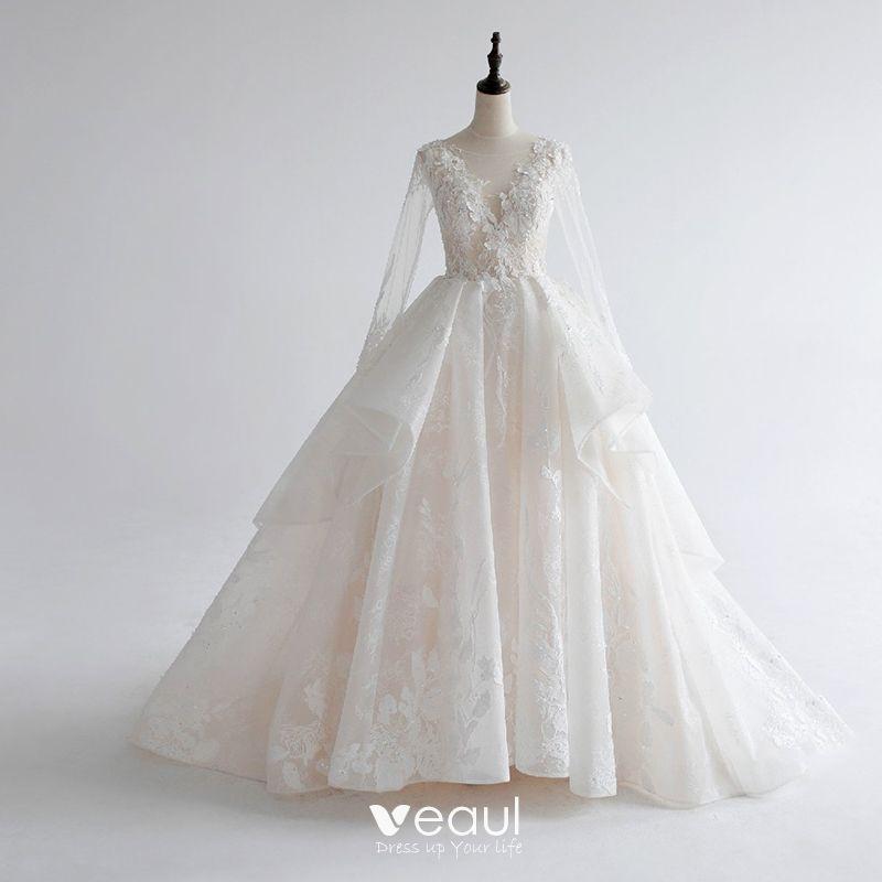 Wedding Dress White Glitter: Luxury / Gorgeous White Wedding Dresses 2017 Royal Train