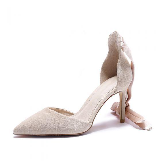 Hermoso Beige Fiesta Zapatos De Mujer 2020 Correa Del Tobillo 8 cm Stilettos / Tacones De Aguja Punta Estrecha De Tacón