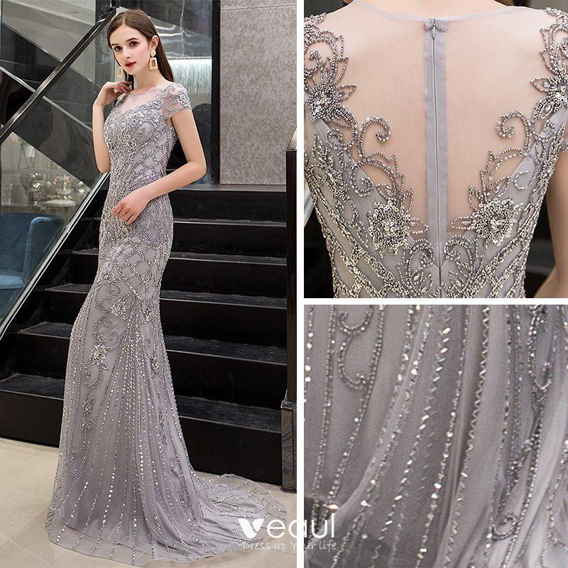 Luxury / Gorgeous Grey See-through Evening Dresses  2019 Trumpet / Mermaid Scoop Neck Cap Sleeves Handmade  Sequins Beading Sweep Train Formal Dresses