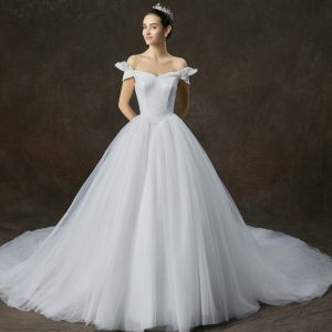Modest / Simple White Wedding Dresses 2019 A-Line / Princess Off-The-Shoulder Short Sleeve Backless Cathedral Train Ruffle