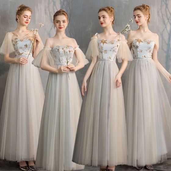 Elegante Champagner Grau Brautjungfernkleider 2019 A Linie Star Pailletten Lange Rüschen Rückenfreies Kleider Für Hochzeit